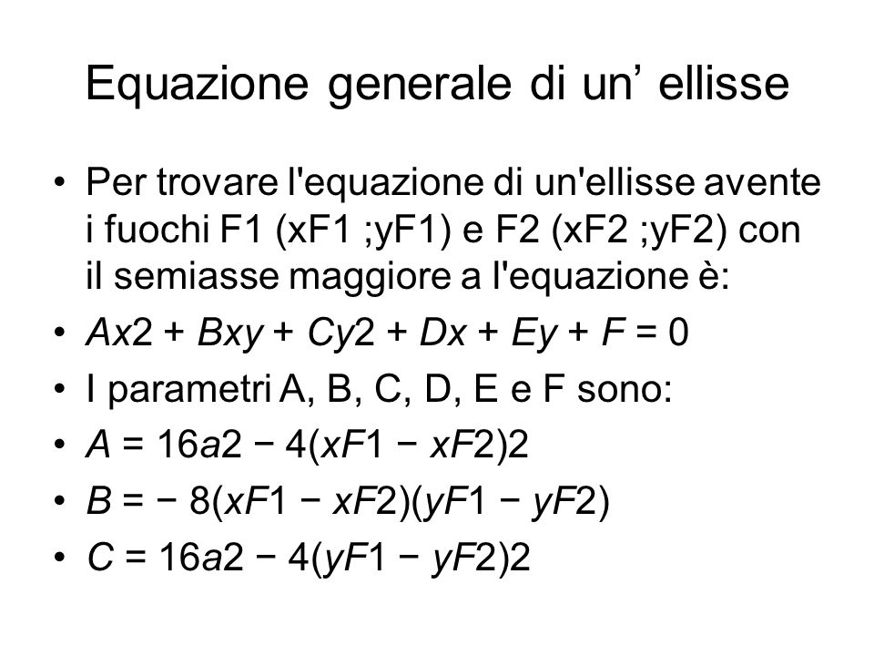 Equazione generale di un' ellisse