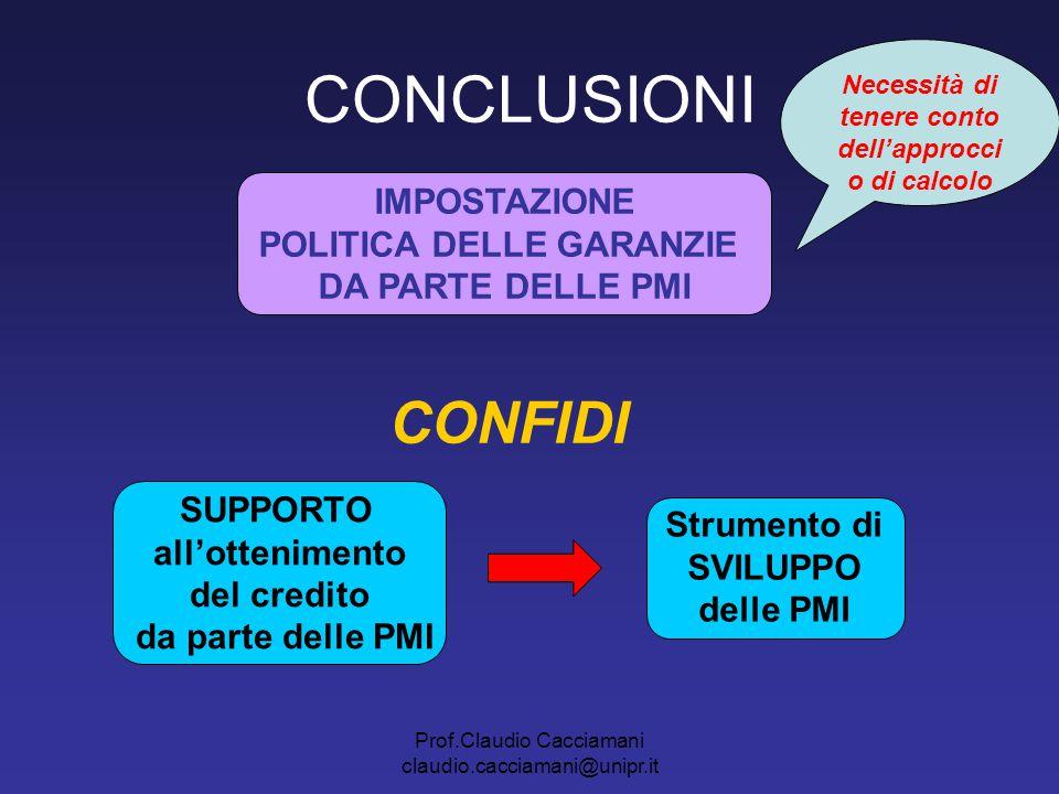 CONCLUSIONI CONFIDI IMPOSTAZIONE POLITICA DELLE GARANZIE
