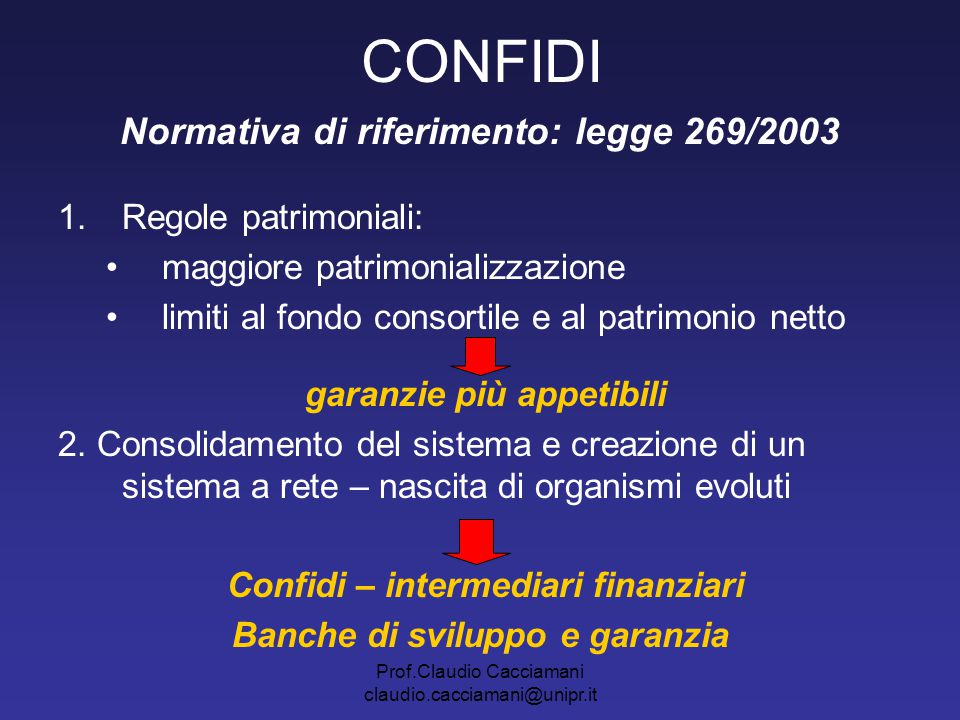 Normativa di riferimento: legge 269/2003 Banche di sviluppo e garanzia