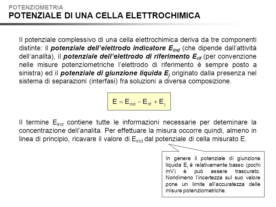POTENZIALE DI UNA CELLA ELETTROCHIMICA