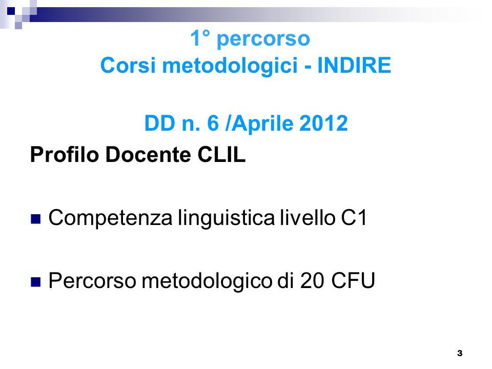 1° percorso Corsi metodologici - INDIRE DD n. 6 /Aprile 2012