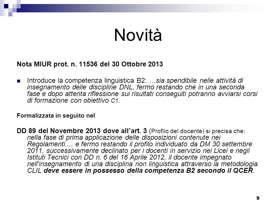 Novità Nota MIUR prot. n. 11536 del 30 Ottobre 2013