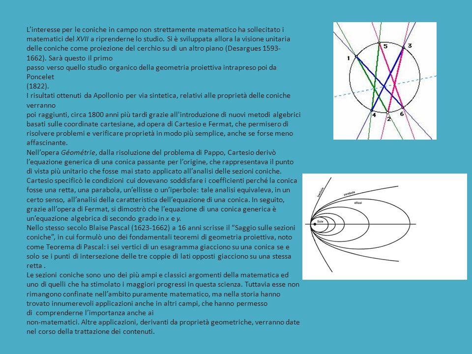 L'interesse per le coniche in campo non strettamente matematico ha sollecitato i matematici del XVII a riprenderne lo studio. Si è sviluppata allora la visione unitaria delle coniche come proiezione del cerchio su di un altro piano (Desargues 1593-1662). Sarà questo il primo