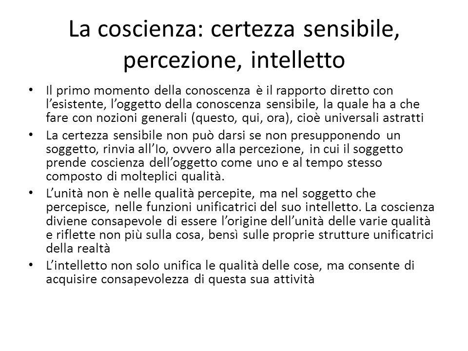 La coscienza: certezza sensibile, percezione, intelletto