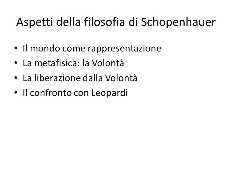 Aspetti della filosofia di Schopenhauer