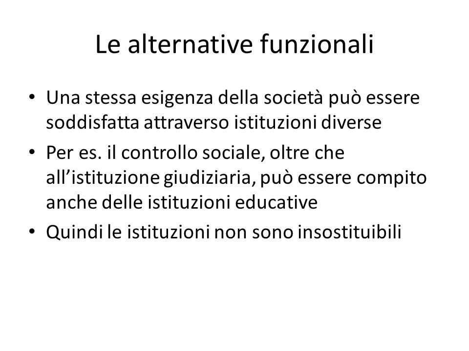Le alternative funzionali