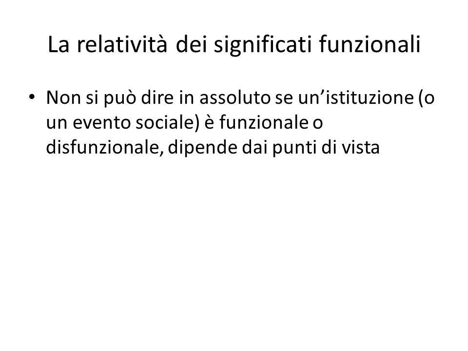 La relatività dei significati funzionali