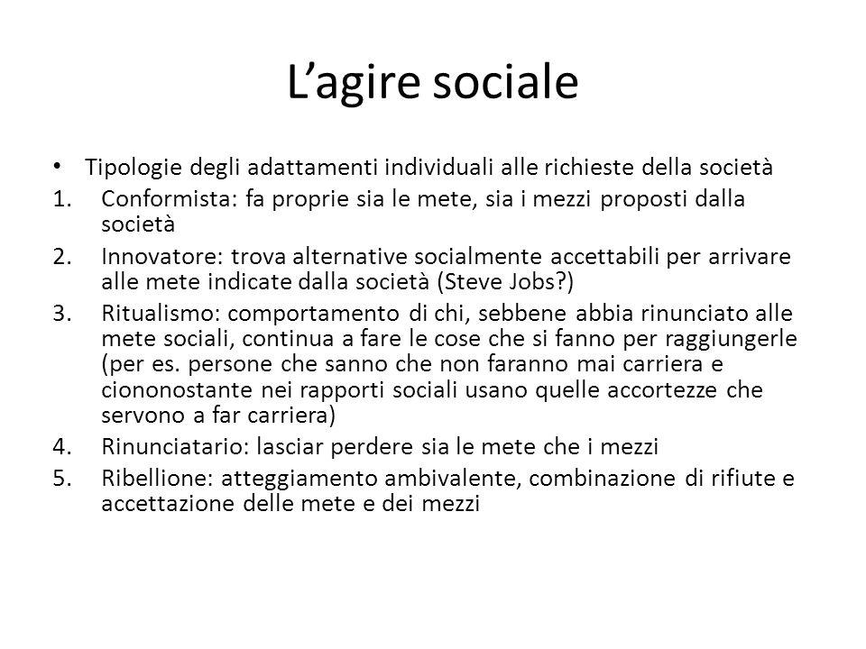 L'agire sociale Tipologie degli adattamenti individuali alle richieste della società.