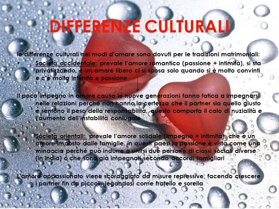 DIFFERENZE CULTURALI le differenze culturali nei modi d'amare sono dovuti per le tradizioni matrimoniali:
