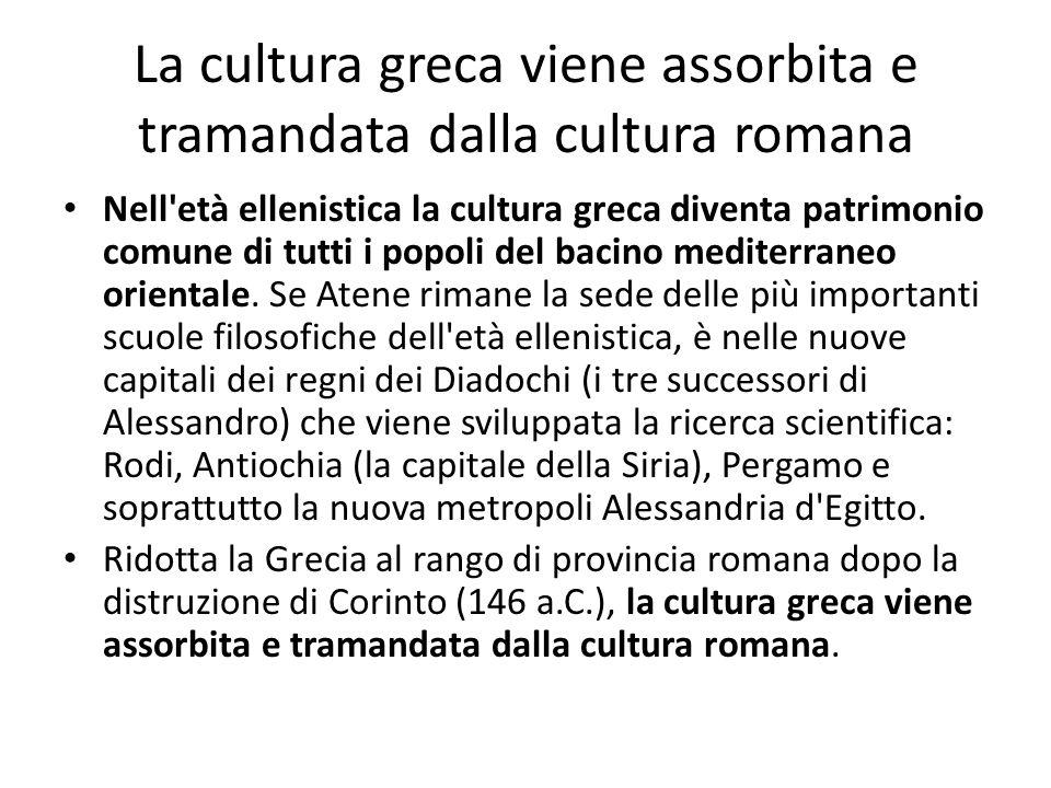La cultura greca viene assorbita e tramandata dalla cultura romana