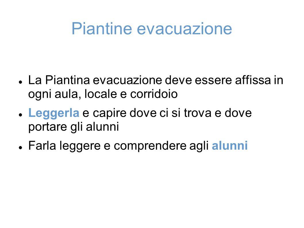 Piantine evacuazione La Piantina evacuazione deve essere affissa in ogni aula, locale e corridoio.