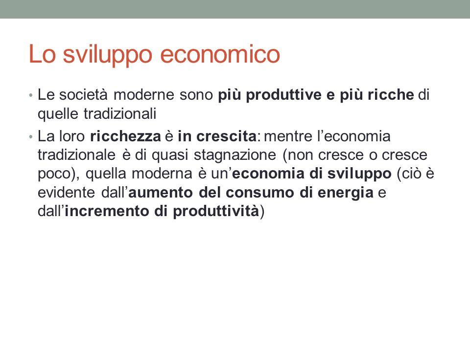 Lo sviluppo economico Le società moderne sono più produttive e più ricche di quelle tradizionali.