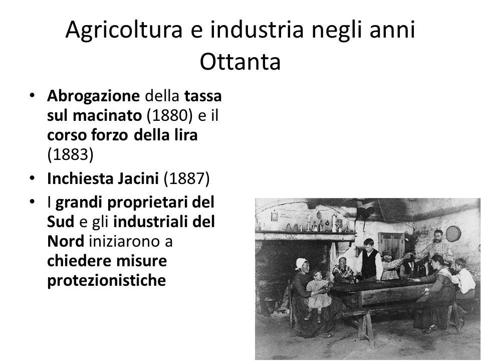 Agricoltura e industria negli anni Ottanta