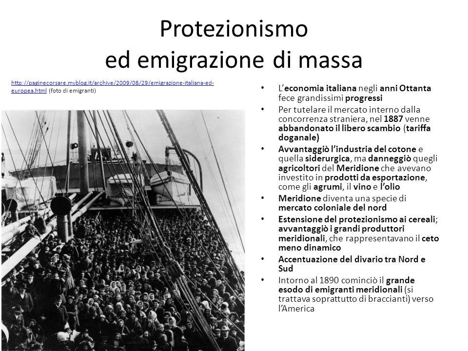 Protezionismo ed emigrazione di massa