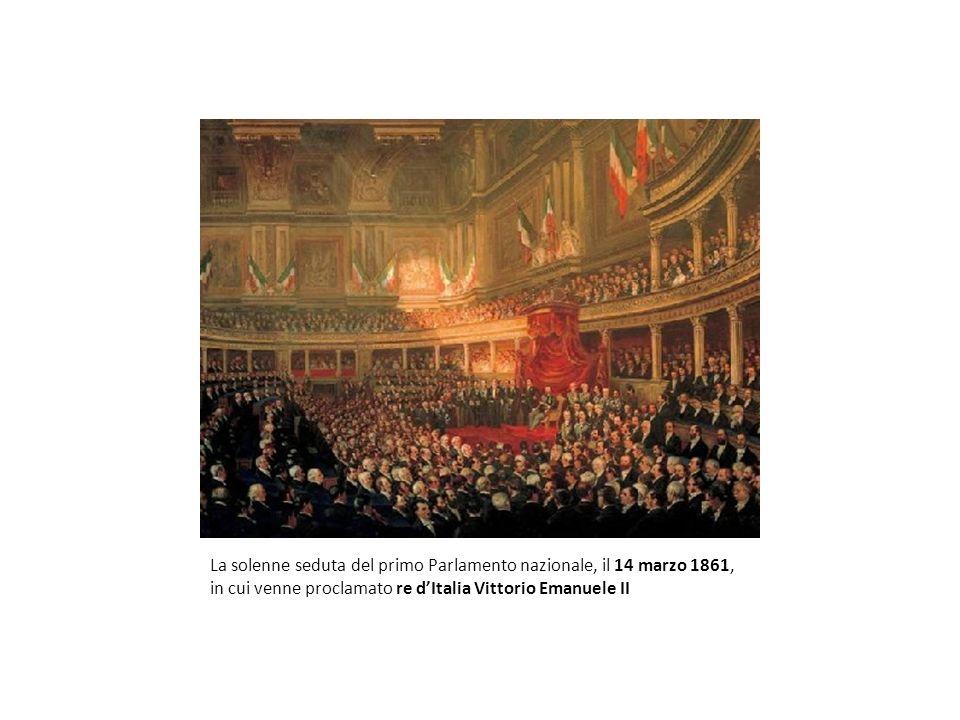 La solenne seduta del primo Parlamento nazionale, il 14 marzo 1861, in cui venne proclamato re d'Italia Vittorio Emanuele II