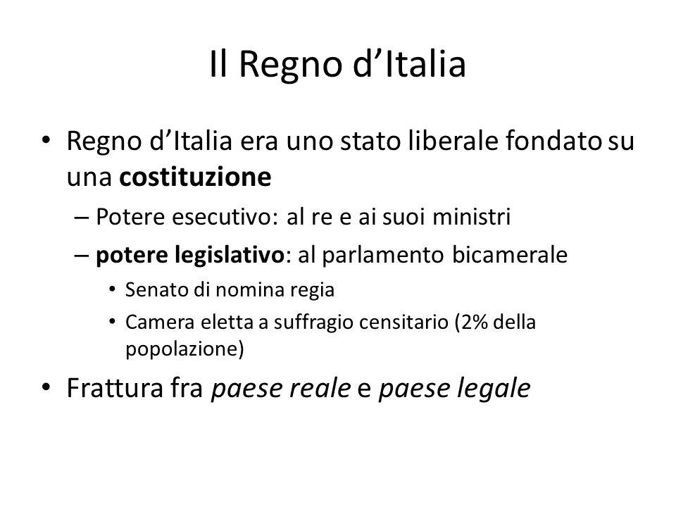 Il Regno d'Italia Regno d'Italia era uno stato liberale fondato su una costituzione. Potere esecutivo: al re e ai suoi ministri.