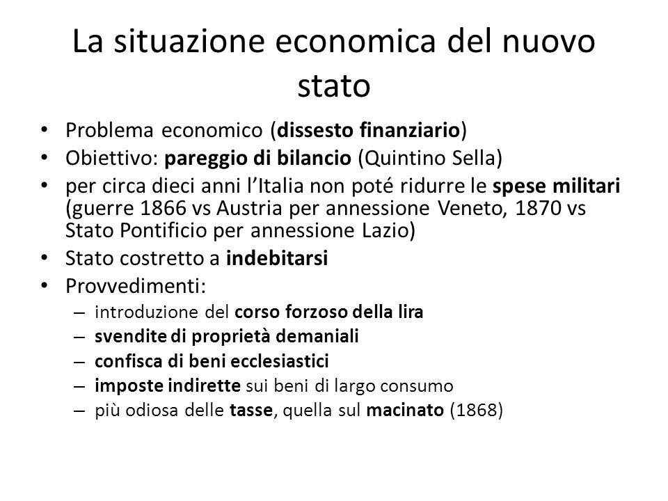 La situazione economica del nuovo stato