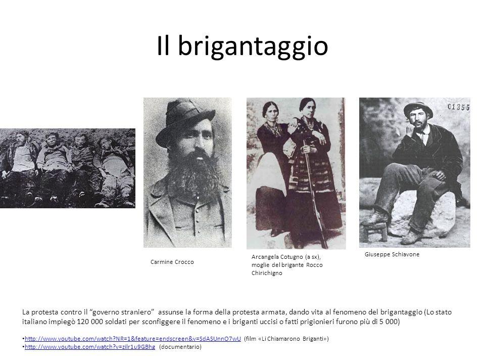 Il brigantaggio Giuseppe Schiavone. Arcangela Cotugno (a sx), moglie del brigante Rocco Chirichigno.