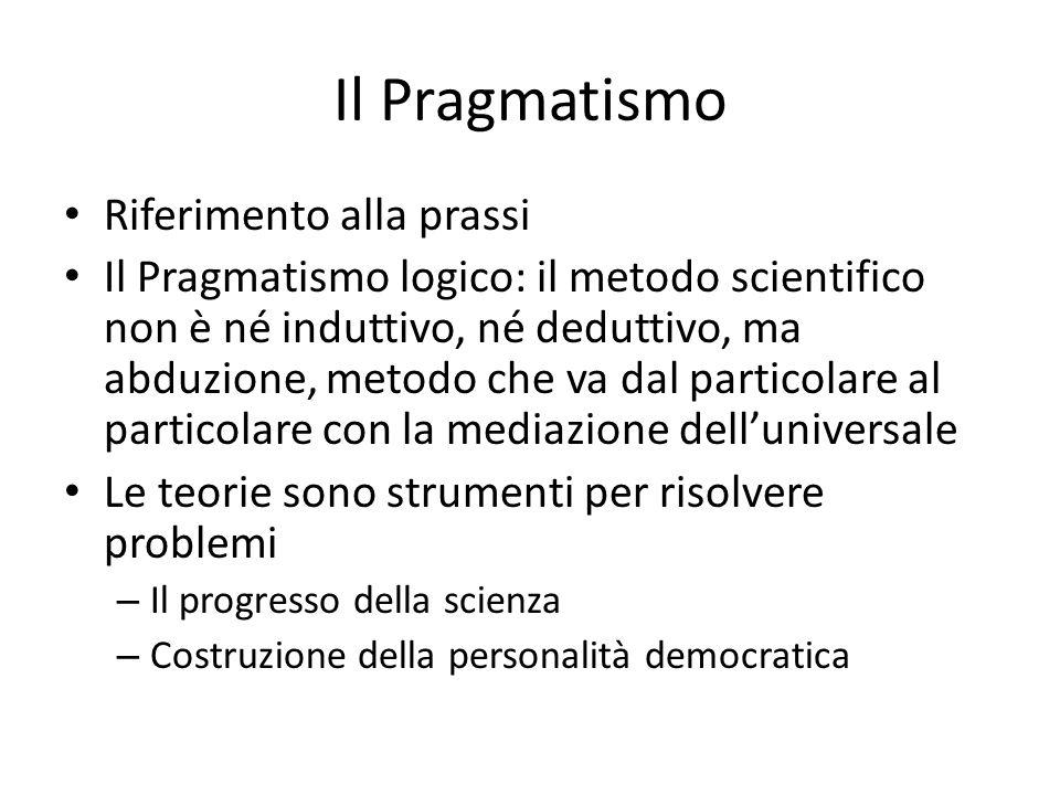 Il Pragmatismo Riferimento alla prassi