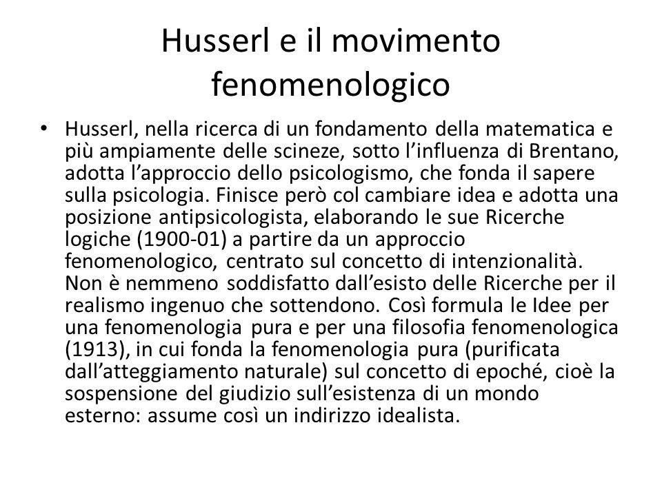 Husserl e il movimento fenomenologico