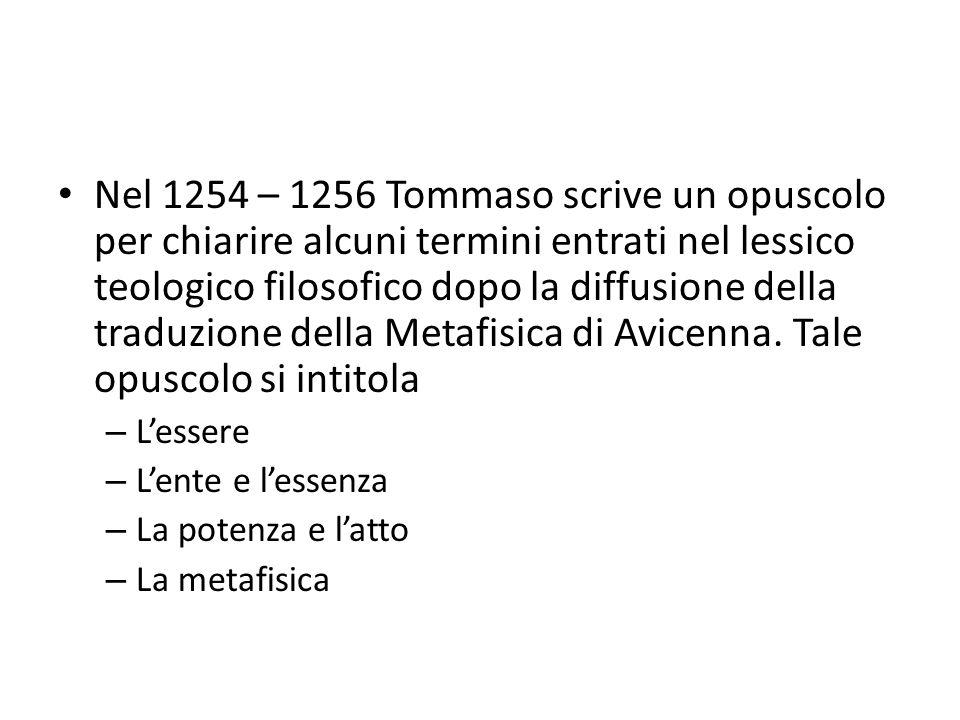 Nel 1254 – 1256 Tommaso scrive un opuscolo per chiarire alcuni termini entrati nel lessico teologico filosofico dopo la diffusione della traduzione della Metafisica di Avicenna. Tale opuscolo si intitola