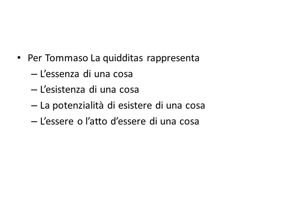 Per Tommaso La quidditas rappresenta