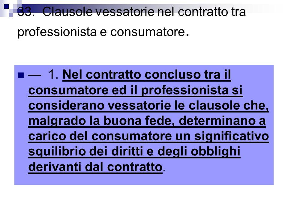 33. Clausole vessatorie nel contratto tra professionista e consumatore.