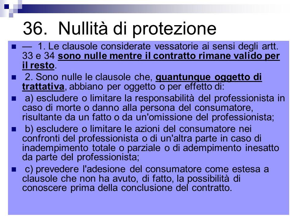36. Nullità di protezione