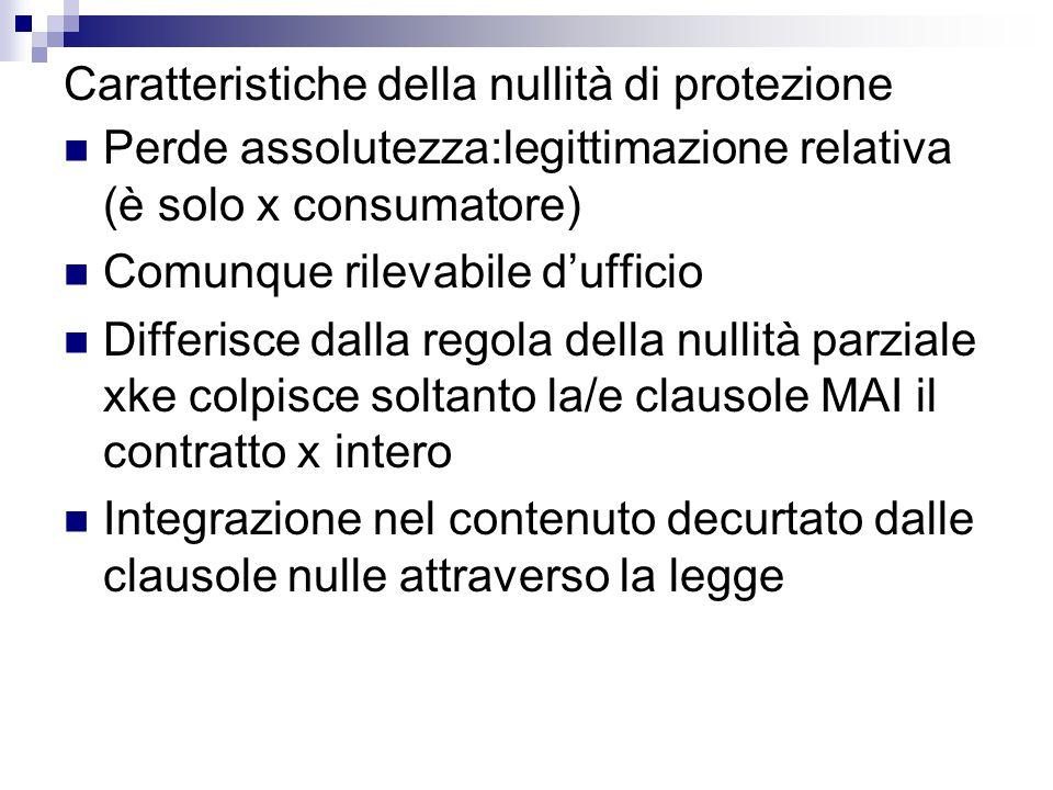 Caratteristiche della nullità di protezione