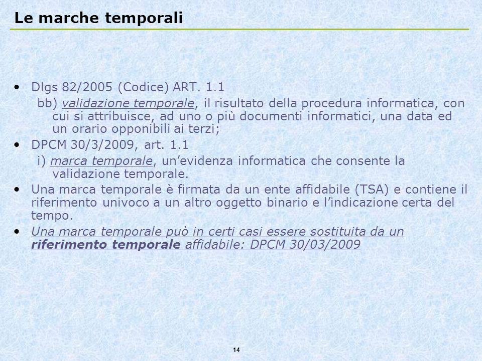 Le marche temporali Dlgs 82/2005 (Codice) ART. 1.1