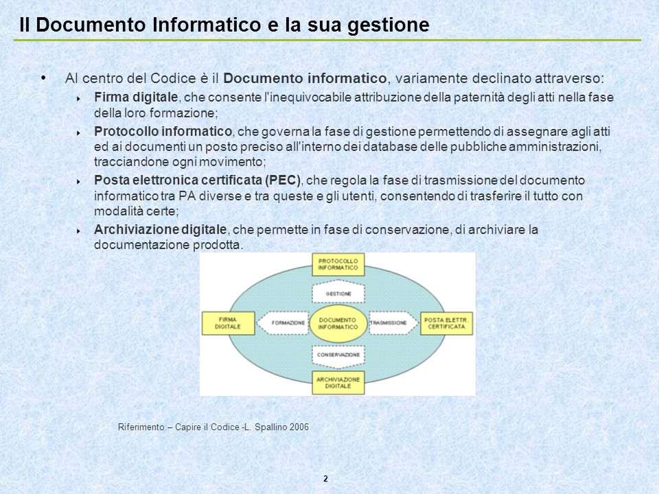 Il Documento Informatico e la sua gestione
