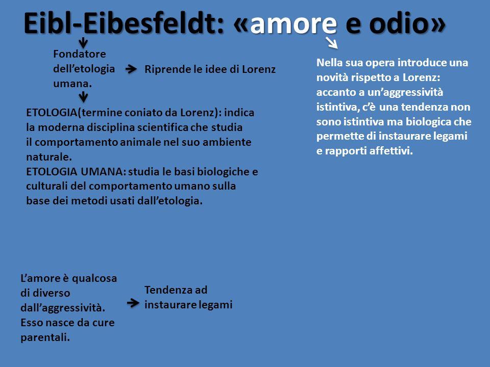 Eibl-Eibesfeldt: «amore e odio»
