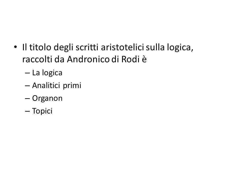 Il titolo degli scritti aristotelici sulla logica, raccolti da Andronico di Rodi è