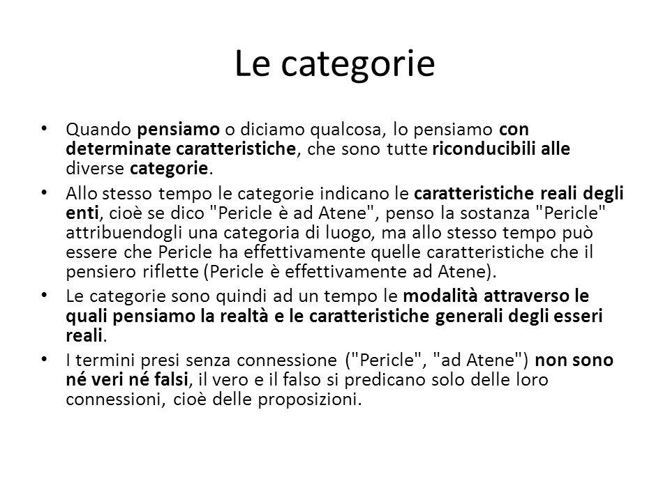 Le categorie Quando pensiamo o diciamo qualcosa, lo pensiamo con determinate caratteristiche, che sono tutte riconducibili alle diverse categorie.