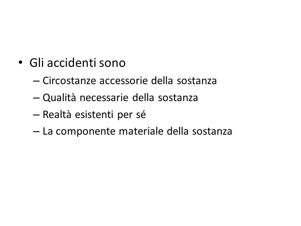 Gli accidenti sono Circostanze accessorie della sostanza