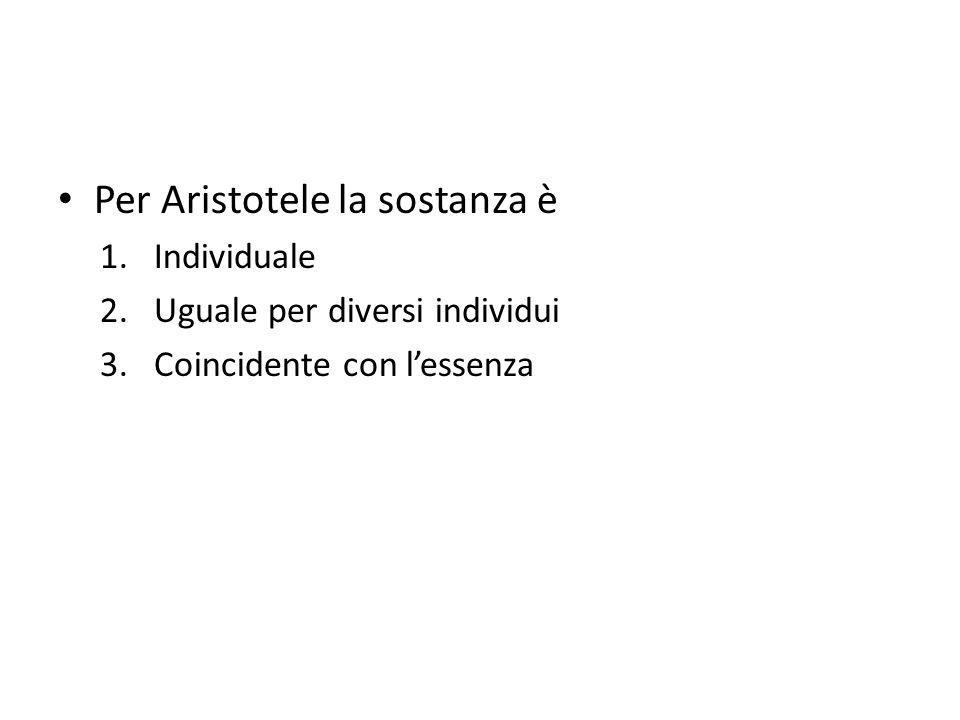 Per Aristotele la sostanza è