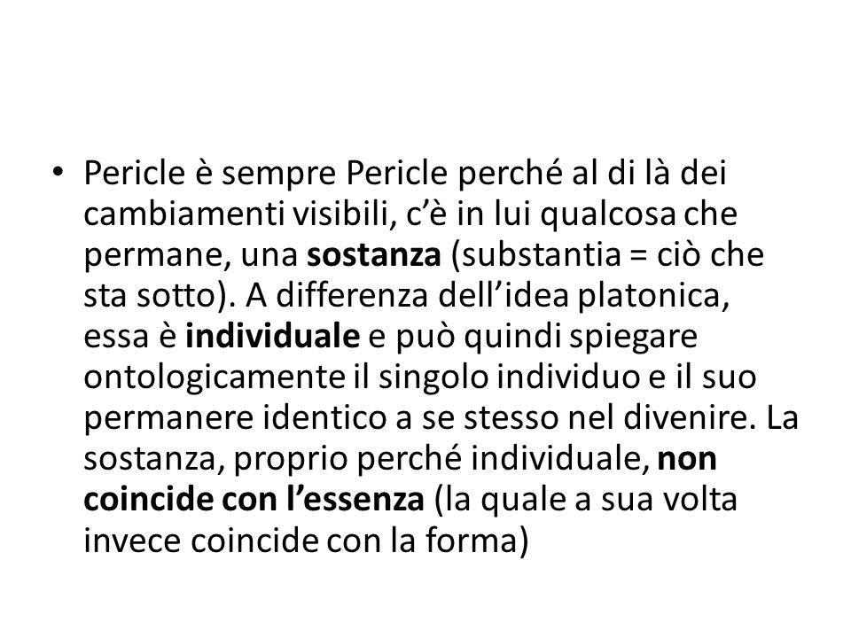 Pericle è sempre Pericle perché al di là dei cambiamenti visibili, c'è in lui qualcosa che permane, una sostanza (substantia = ciò che sta sotto).