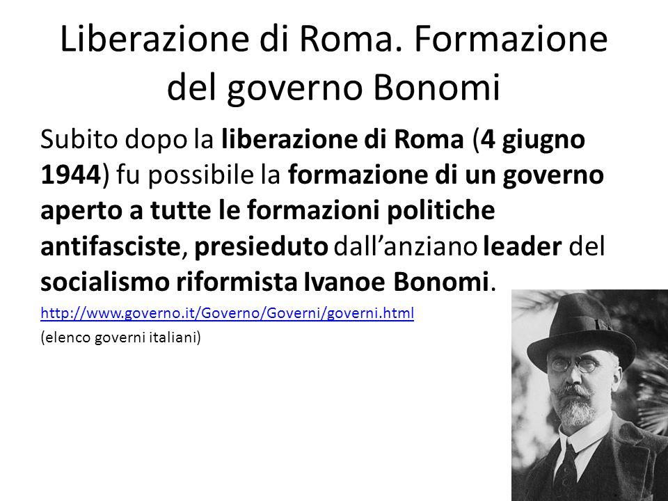 Liberazione di Roma. Formazione del governo Bonomi