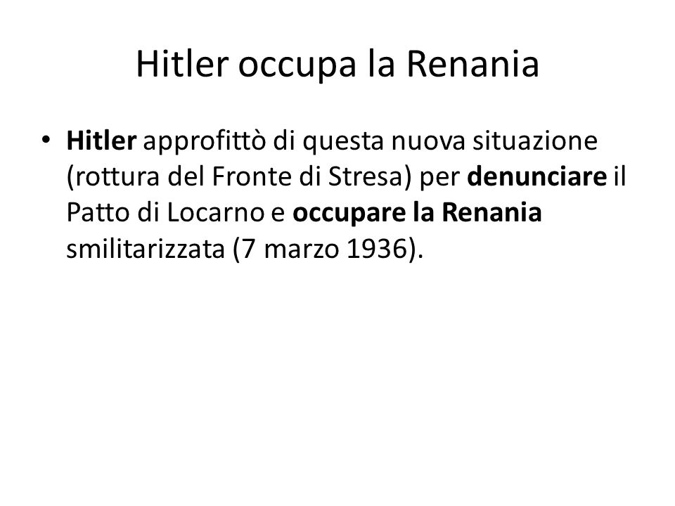 Hitler occupa la Renania