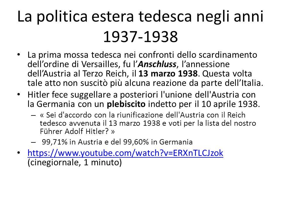 La politica estera tedesca negli anni 1937-1938