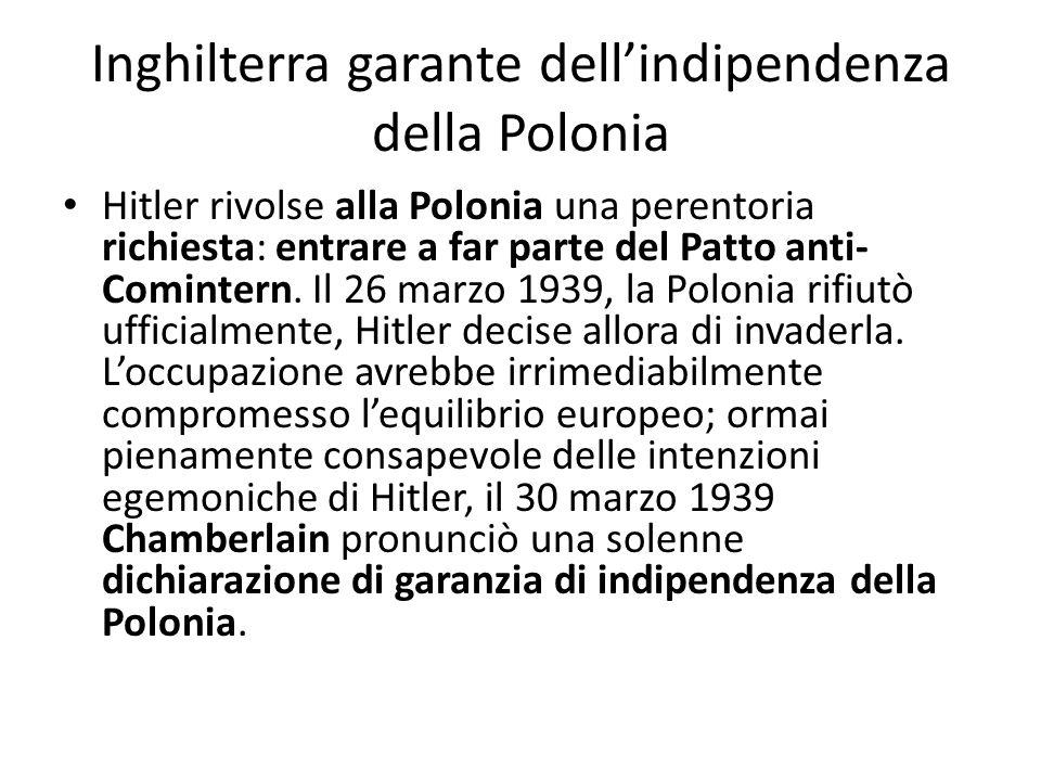 Inghilterra garante dell'indipendenza della Polonia
