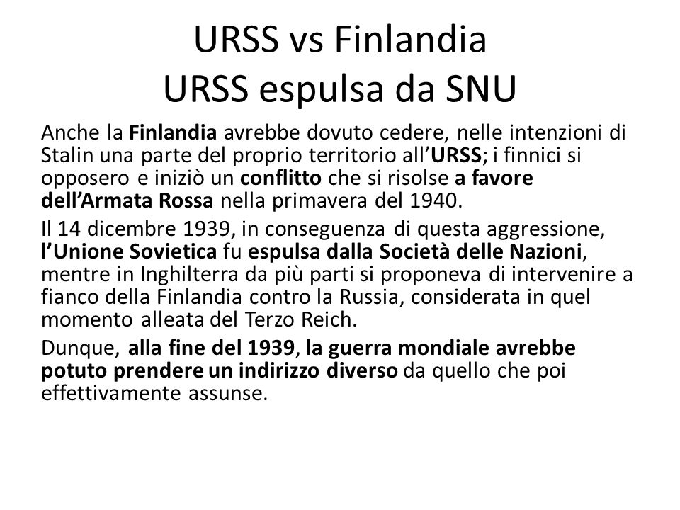 URSS vs Finlandia URSS espulsa da SNU