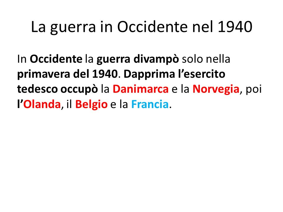 La guerra in Occidente nel 1940