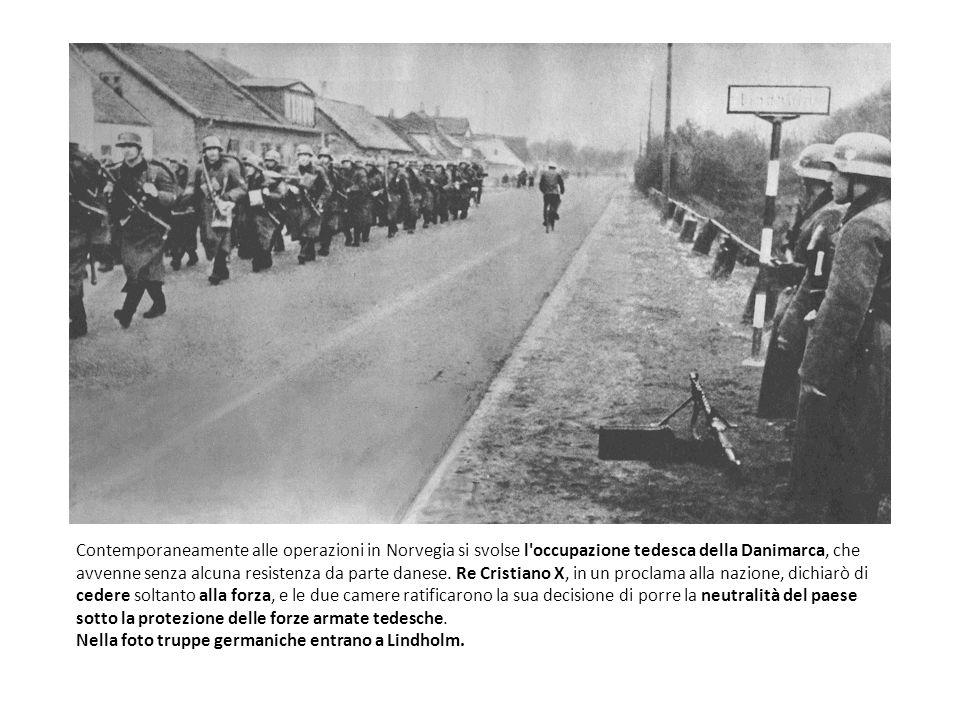 Contemporaneamente alle operazioni in Norvegia si svolse l occupazione tedesca della Danimarca, che avvenne senza alcuna resistenza da parte danese. Re Cristiano X, in un proclama alla nazione, dichiarò di cedere soltanto alla forza, e le due camere ratificarono la sua decisione di porre la neutralità del paese sotto la protezione delle forze armate tedesche.