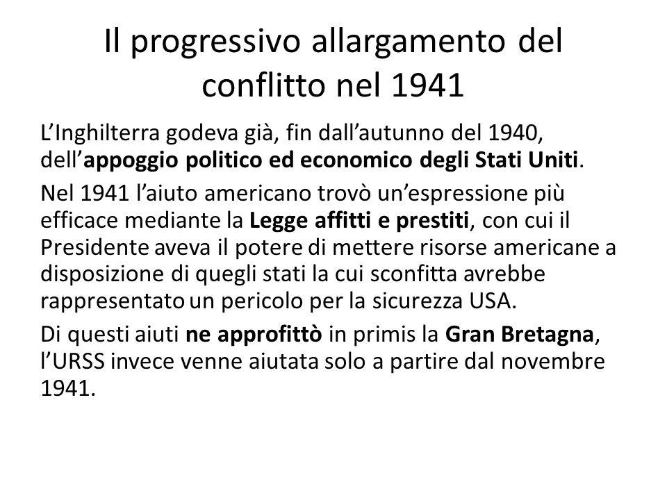 Il progressivo allargamento del conflitto nel 1941