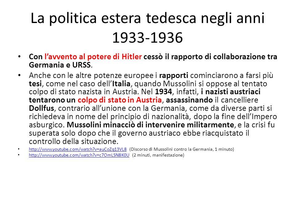 La politica estera tedesca negli anni 1933-1936