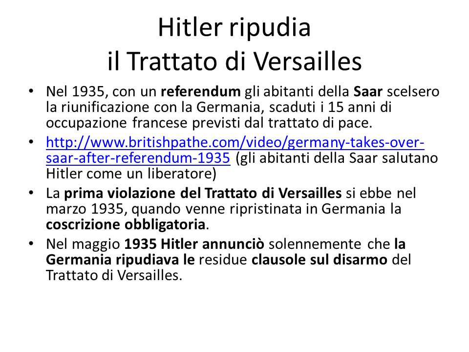 Hitler ripudia il Trattato di Versailles