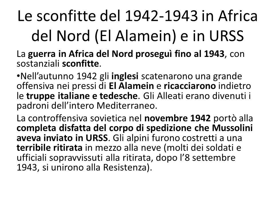 Le sconfitte del 1942-1943 in Africa del Nord (El Alamein) e in URSS