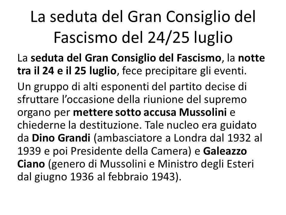 La seduta del Gran Consiglio del Fascismo del 24/25 luglio