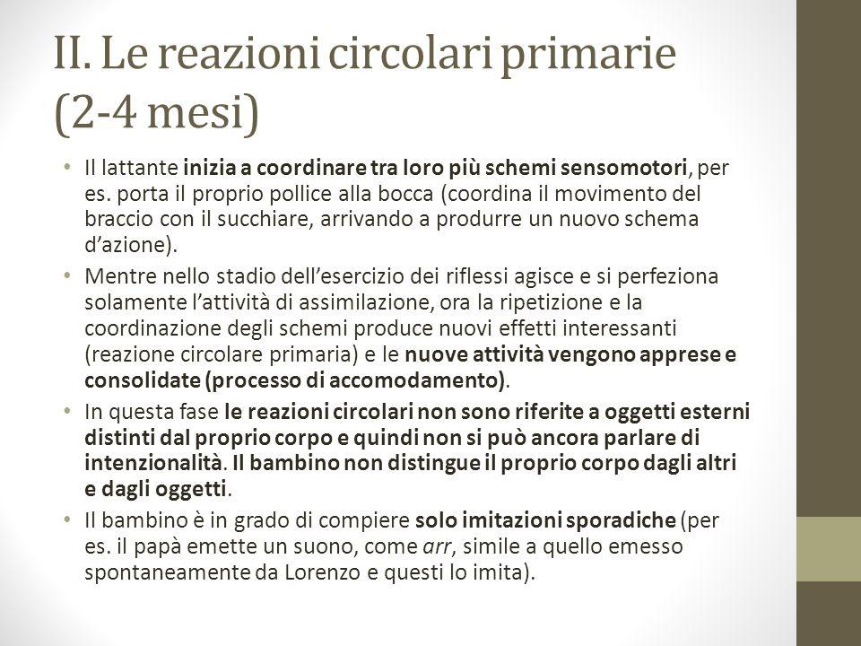 II. Le reazioni circolari primarie (2-4 mesi)